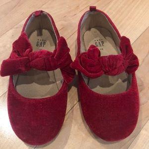 Baby gap red velvet shoes